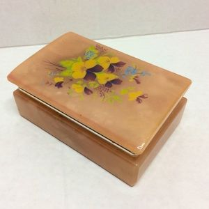 Vintage Peach Alabaster Purple Poppy Cigarette Box